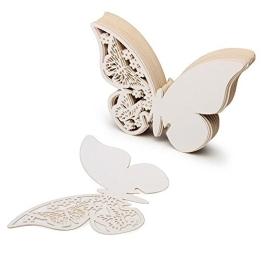 50 Stück 3D Schmetterlinge Weiß Tischkarten Platzkarten Namenskarten Hochzeit - 1