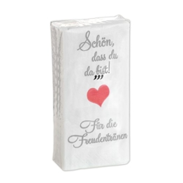 10 x 10 Taschentücher 'Schön, dass du da bist - Für die Freudentränen' zur Hochzeit, Taufe oder Kommunion - 1