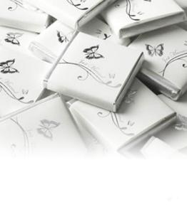 250g 50St Schokoladentafeln EinsSein® Schmetterlinge weiß-silber Gastgeschenke Hochzeit Hochzeitsmandeln - 1