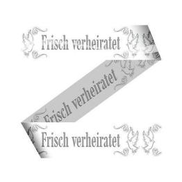Absperrband Warnband 15 m Weiß Frisch verheiratet Hochzeit Wedding Deko Girlande - 1