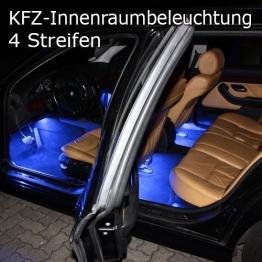 4er Set RGB LED KFZ Innenraumbeleuchtung Fussraumbeleuchtung komplett mit Anschlußkabel, Controller und Fernbedienung 4 Streifen Strips Auto 12V - 1